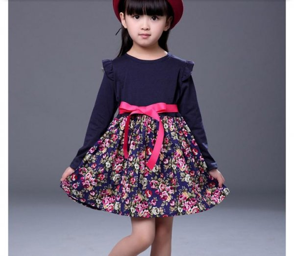 Navy Floral Full Sleev Dress