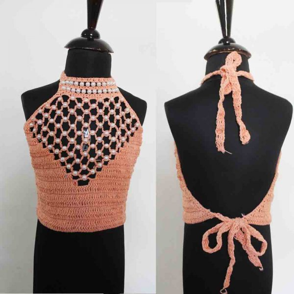 Orange Halterneck Top with Pearlwork