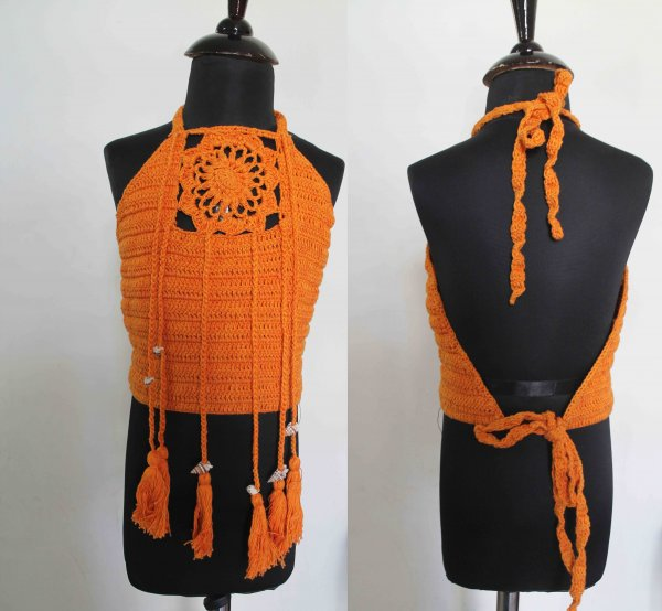 Orange Halterneck Top with Tassels