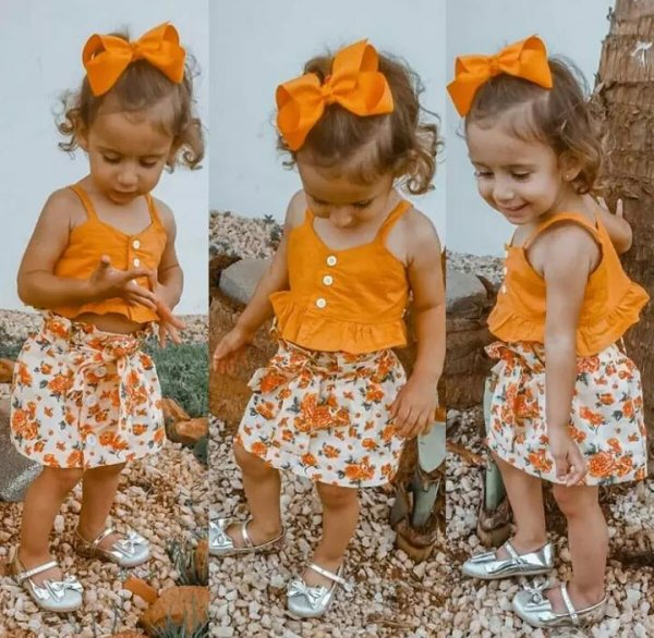 Orange Top and Skirt Set