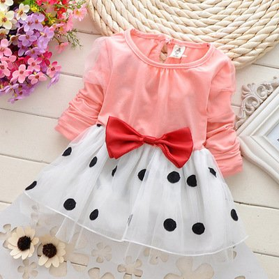 Peach Infant Polka Pattern Frock