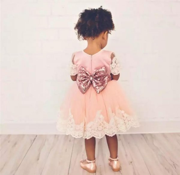 Peach Princess Dress with Big Sequin Bow
