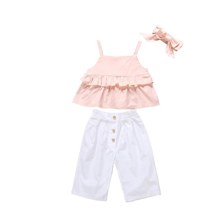 Peach Top With White Capri & Headband