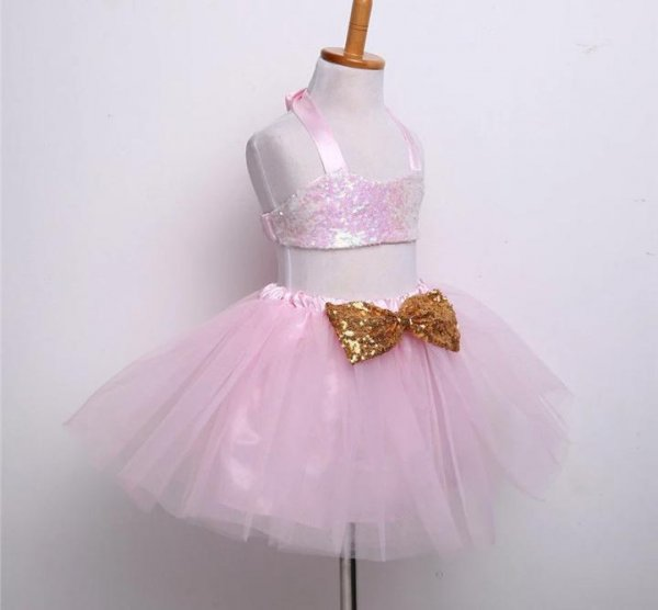 Pink  Sequin Set with Golden Bow