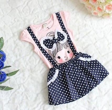Pink and Blue Dungaree Dress