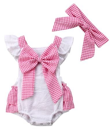 Pink Bow Romper with Headband