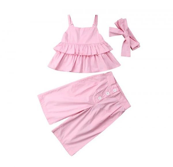 Pink Dress With Culottes & Headband
