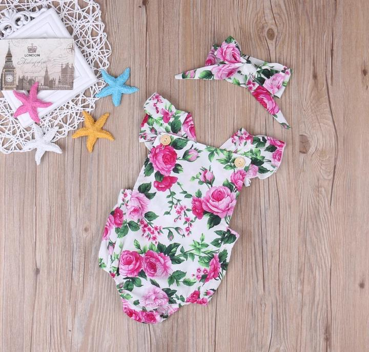 Pink Floral Romper with Headband