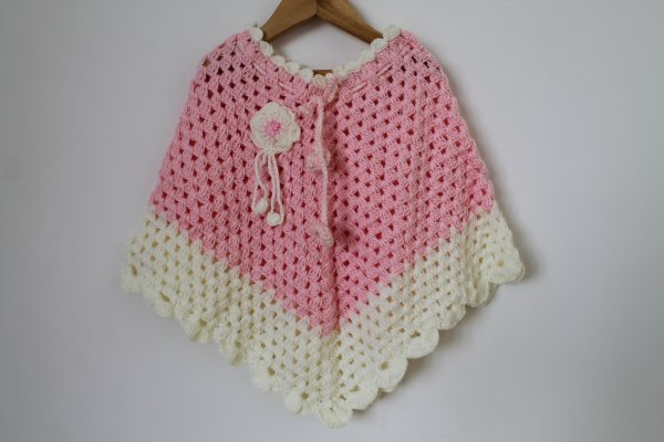 Pink Handmade Poncho for Girls
