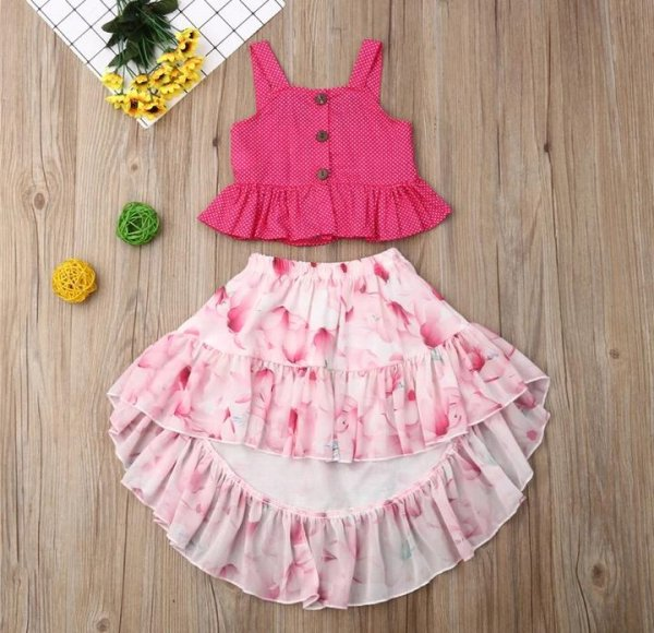 Pink High Low Skirt Set