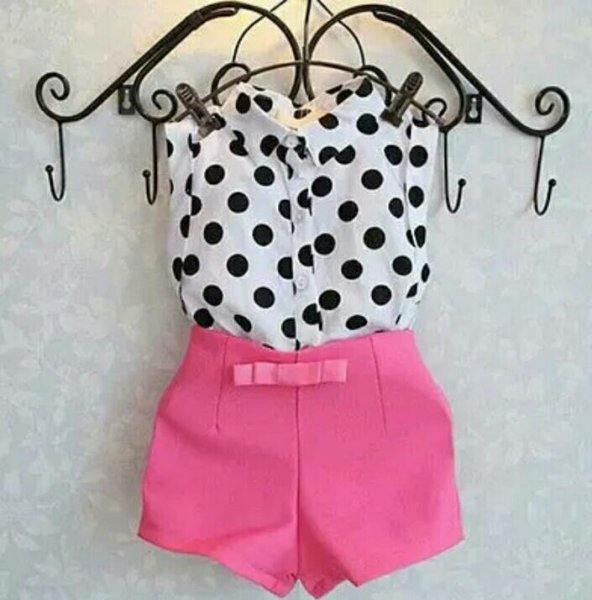 Pink Shorts And Polka Print Top