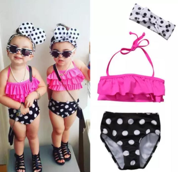 Pink top & polka pattern swimwear with headband