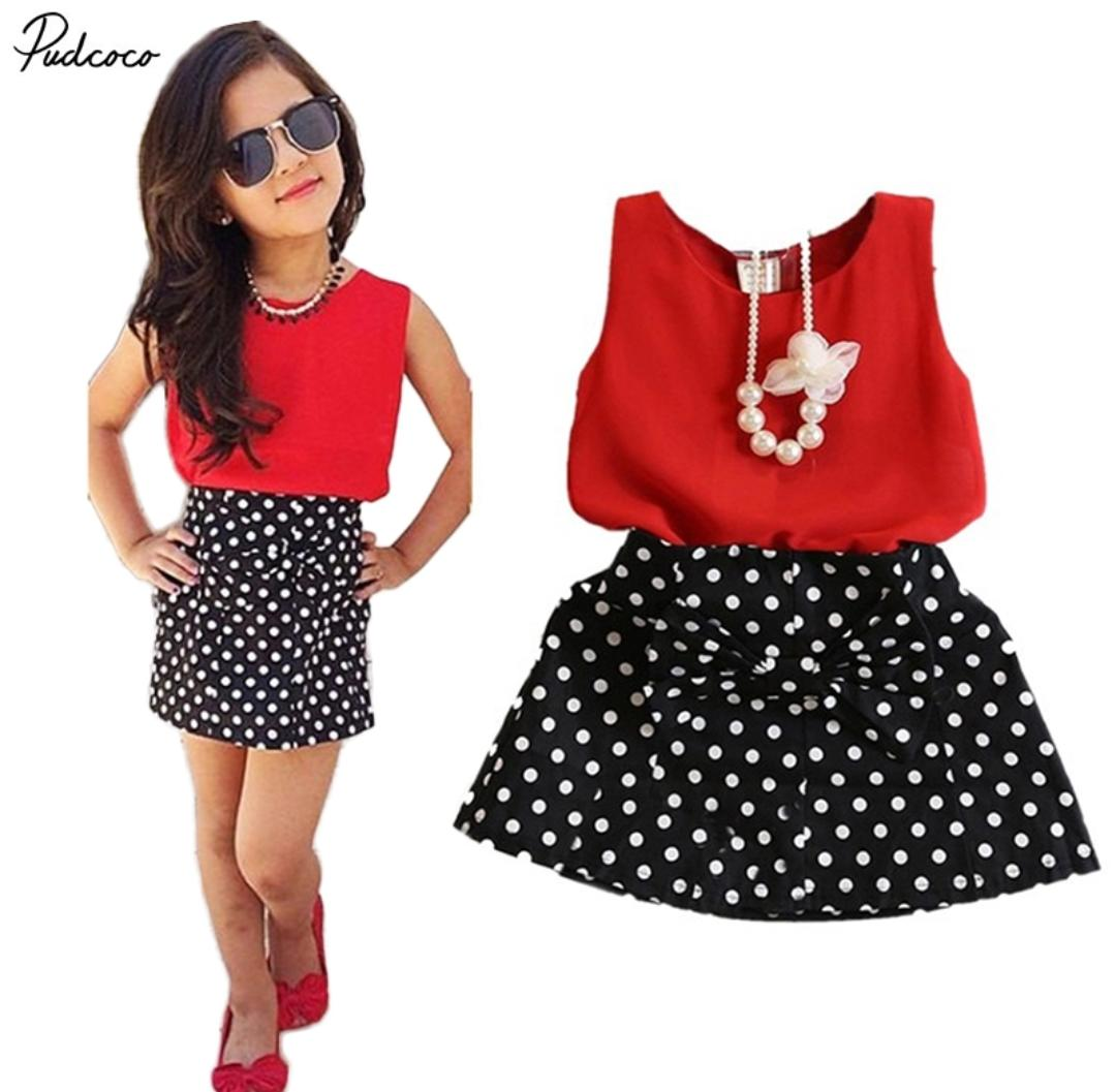 Polka Pattern SKirt Top Set