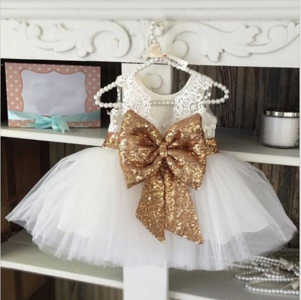 Premium White Birthday Dress with Sequin Bow