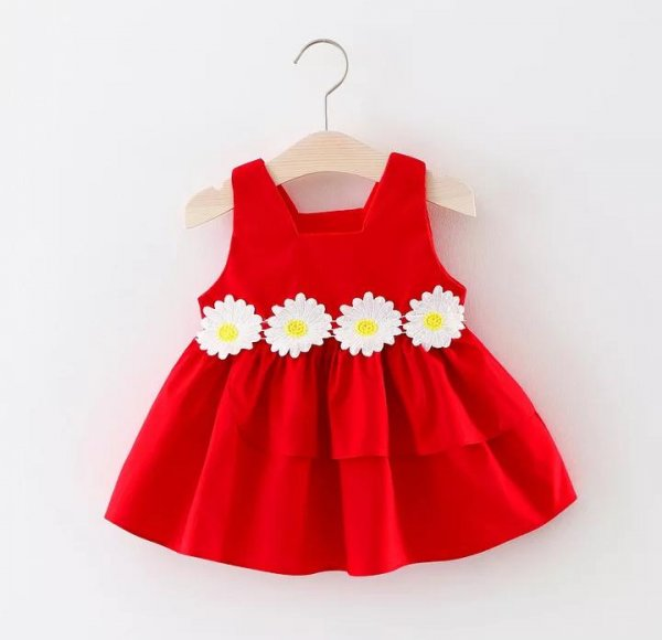 Pretty Cotton  Frock In Red