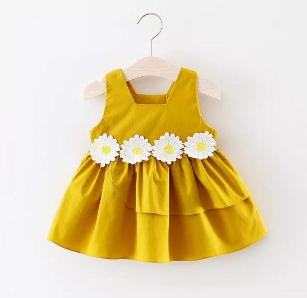 Pretty Cotton  Frock In Yellow