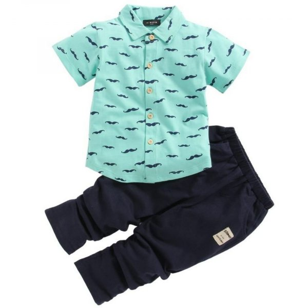 Printed  Green Summer Shirt Set