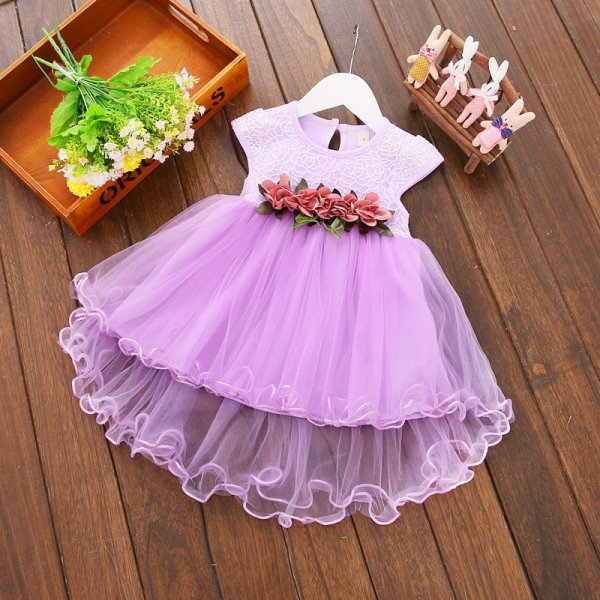 Purple frock with Floral Waistband