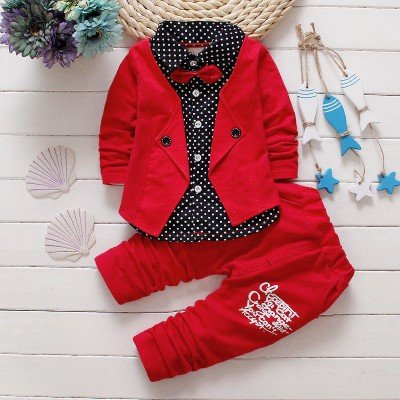 Red  Attached Blazer and Pant Set
