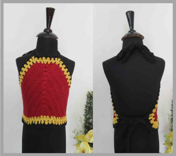 Red and Yellow Halterneck Top