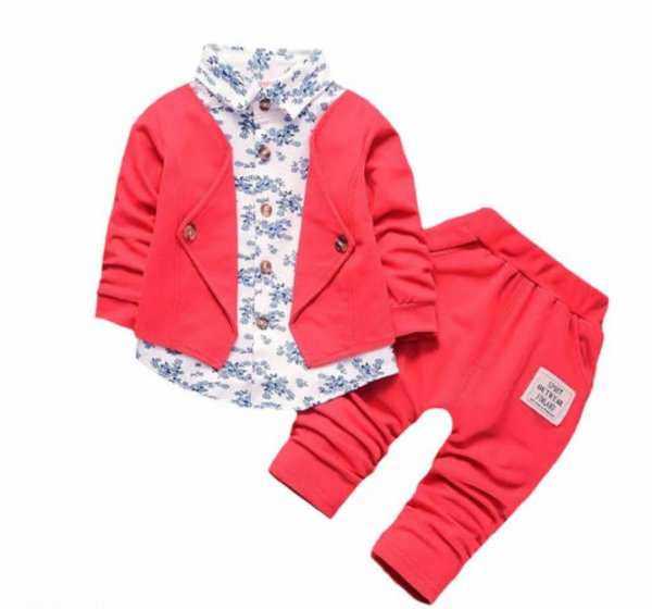 Red Attached Blazer Set for Boys