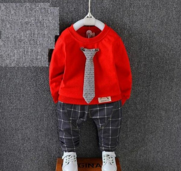 Red Boys Set with Tie