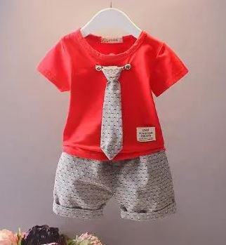 Red Casual Set With Tie
