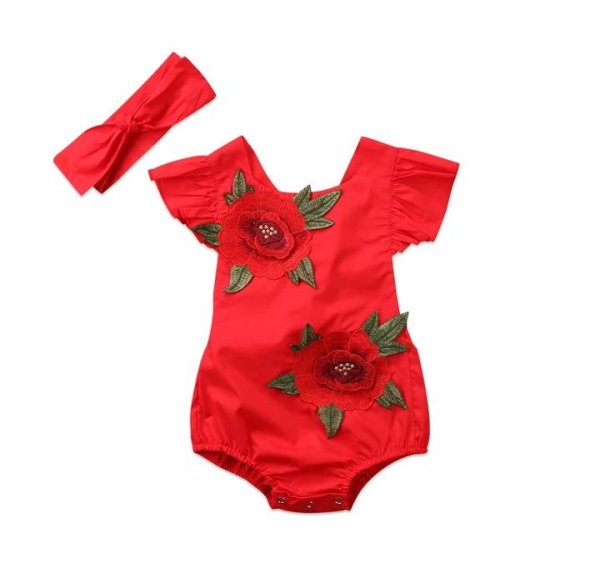 Red Floral Applique Romper with Headband