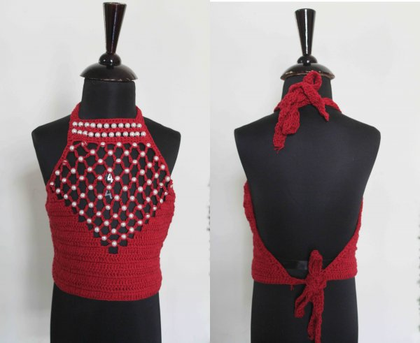Red Halterneck Top with Pearlwork