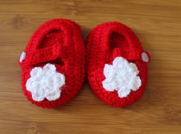 Red Handmade Booties with White Flower