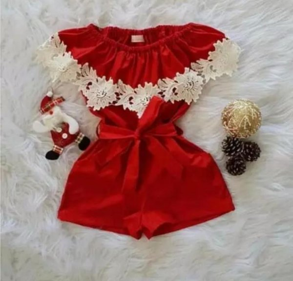 Red Playsuit With Lace Work