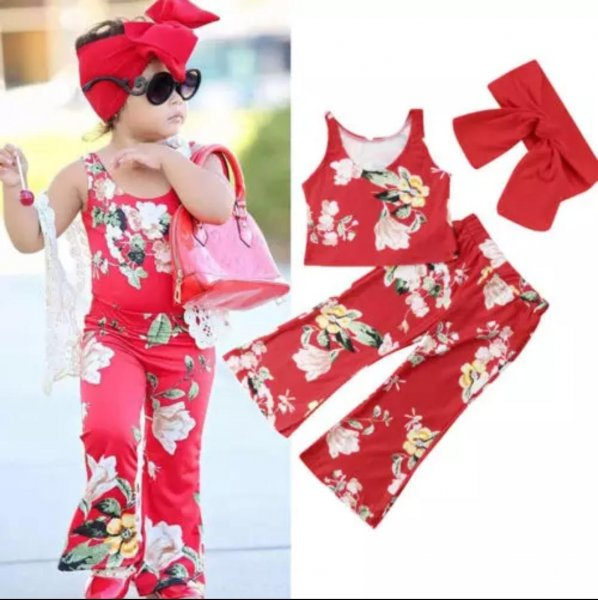 Red Printed Set with Headband