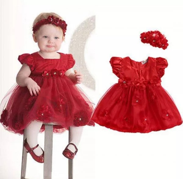 Red Satin Frock with Headband