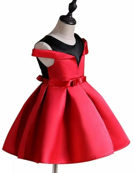 Red Satin Stylish Party Dress