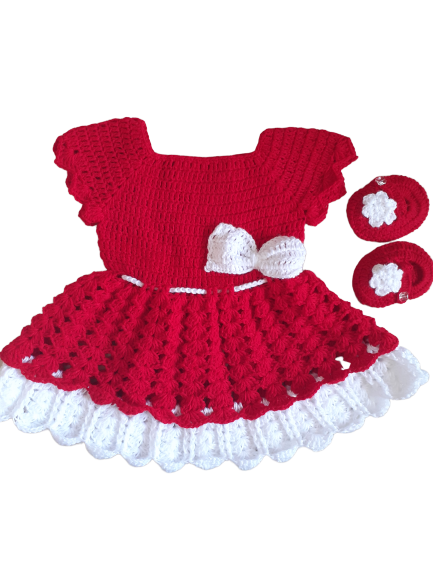 Red Sleeveless Woolen Frock with Booties