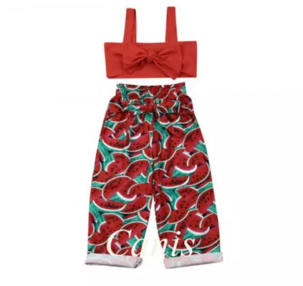 Red Watermelon Printed Pants with Top