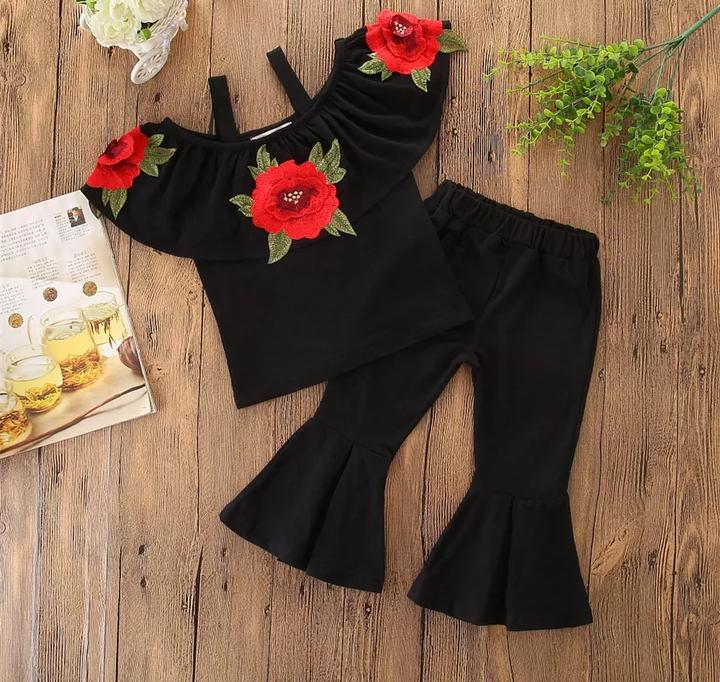 Rose Applique Top With Black Pant