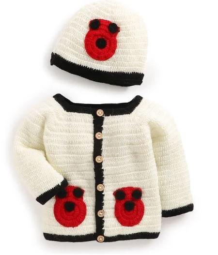 Kids Bug Pattern Sweater With Cap