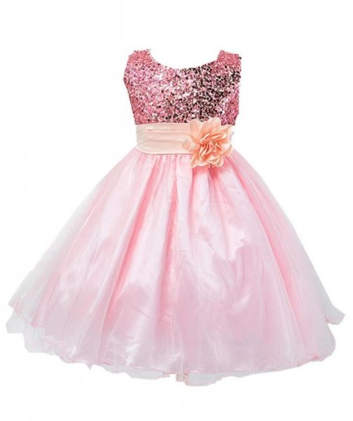 Sequin Peach Party Frock With Flower Batch