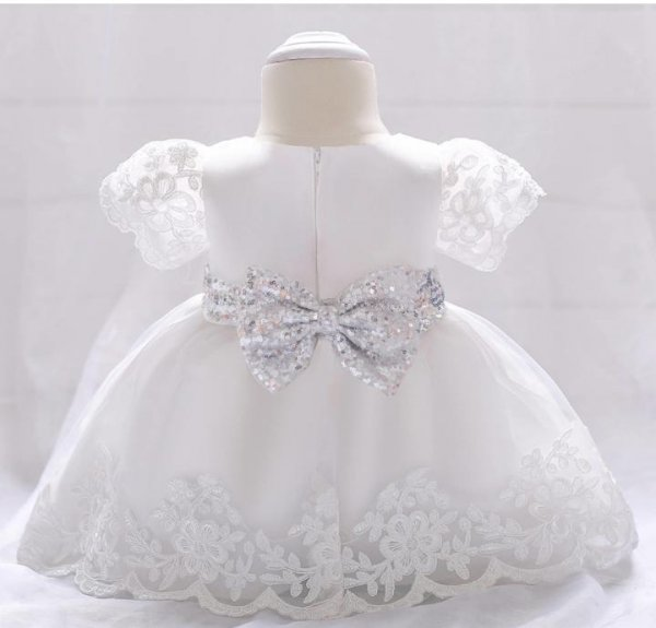 Silver Sequin Bow Princess Dress
