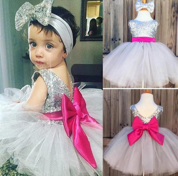 Silver Sequin Party Frock with Headband
