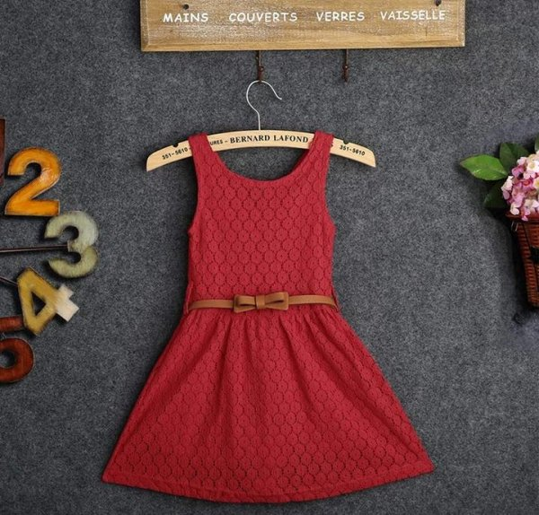 Sleeve Less Red Dress With Belt