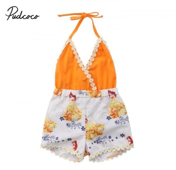 Smart Orange Halterneck romper for Girls
