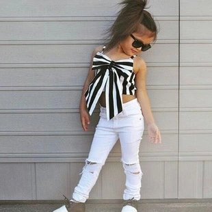 Striped Crop Top With White Jeans