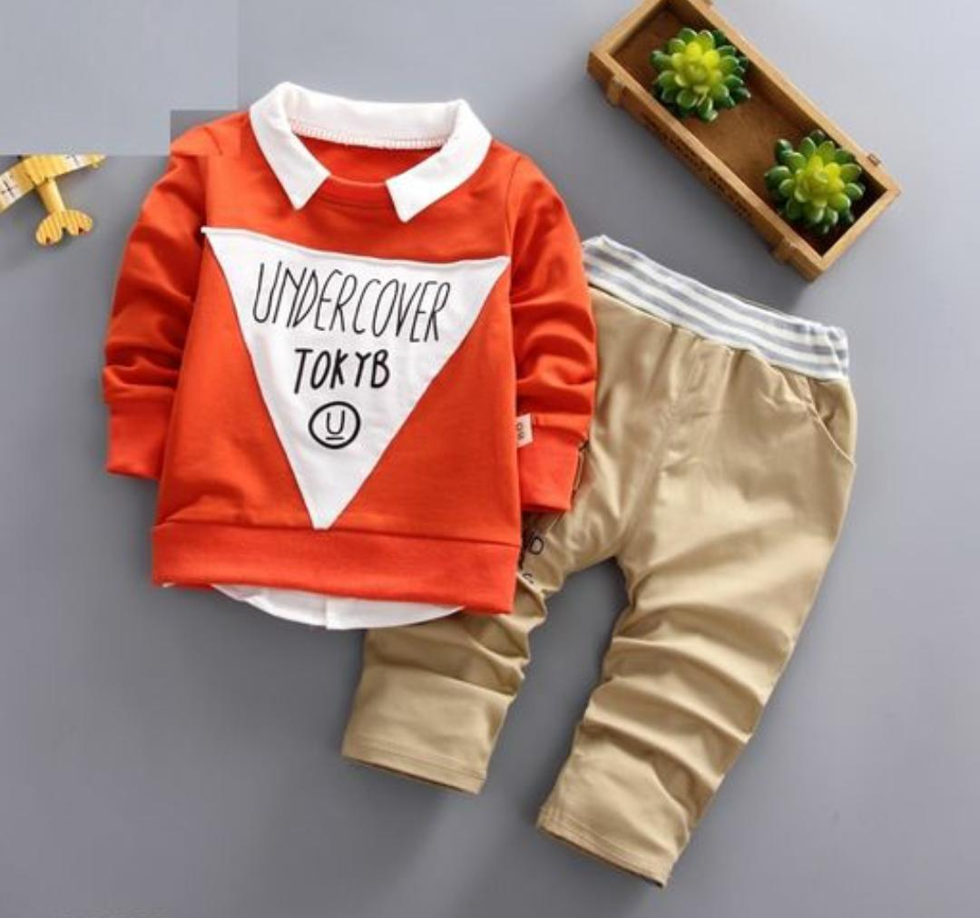 Stylish Orange Top with Khaki Bottom