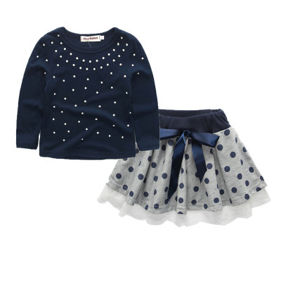 Stylish Pearl Work Navy Skirt Set