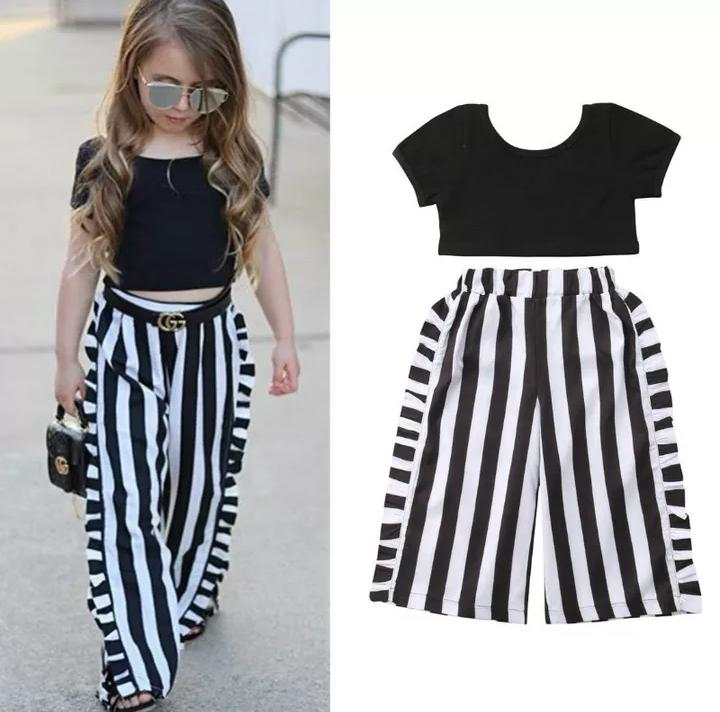 Stylish Top With Black & White Stripped Bottom