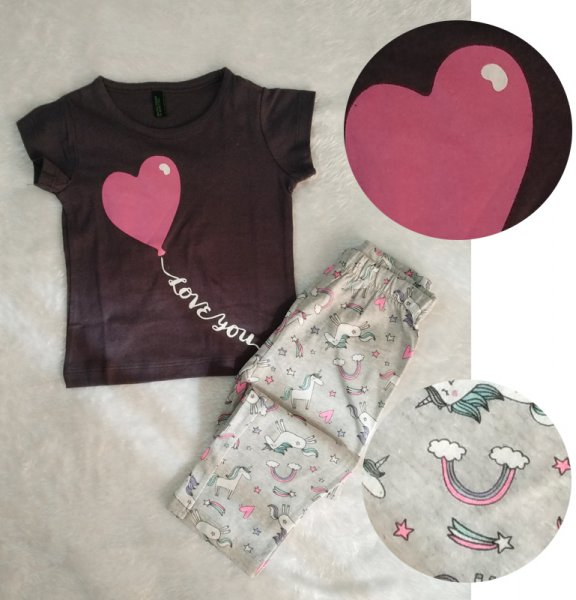 Summer Casual Set with Unicorn & Heart Print