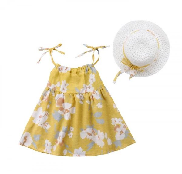 Summer Set with Hat In Yellow Colour