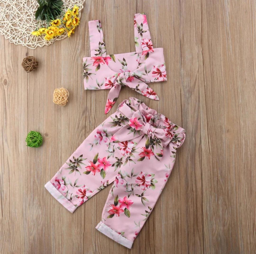 Sweet Pink  Culottes and Crop Top  Set